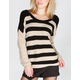 FULL TILT Stripe Womens V Back Sweater