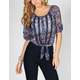 FULL TILT Womens Tie Front Pesant Top