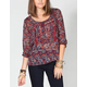 FULL TILT Lace Inset Womens Peasant Top