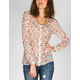 FULL TILT Floral Womens Pintuck Peasant Top