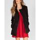 FULL TILT Faux Leather Trim Womens Wool Jacket