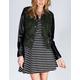 JOU JOU Faux Leather Sleeve Womens Wool Military Jacket