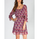 LOTTIE & HOLLY Paisley Womens Belted Peasant Dress