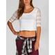FULL TILT 3/4 Sleeve Womens Lace Crop Top