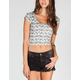 FULL TILT Ethnic Print Womens Crop Tee