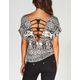 FULL TILT Ethnic Print Womens Lattice Back Top