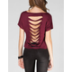 FULL TILT Shredded back Womens Crop Tee