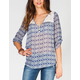 SOCIALITE Mosaic Womens Peasant Top