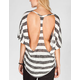 FULL TILT Striped Womens Cut Out Back Top