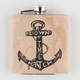 Down The Hatch Real Wood Flask