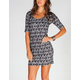 FULL TILT Ethnic Print Elbow Sleeve Lattice Back Dress