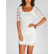 SOCIALITE Elbow Sleeve Crochet Bodycon Dress