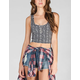 LILY WHITE Ethnic Print Womens Crop Tank