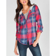 DOLLED UP Womens Hooded Flannel Shirt