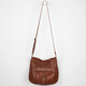 Washed Faux Leather Hobo Bag
