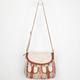 Crochet Overlay Ethnic Print Hobo Bag