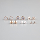 FULL TILT 6 Pairs Rhinestone Circle/Epoxy Flower/Stud Earrings