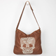 T-SHIRT & JEANS Embroidered Skull Faux Leather Hobo Bag