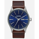 NIXON Sentry Leather Silver & Blue Watch