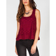 CHLOE K Lace Womens Swing Tank