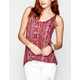 FULL TILT Ethnic Print Womens Lattice Back Tank