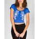 H.I.P. Floral Embroidery Womens Crop Tee