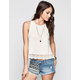 CHLOE K Crochet Womens Hi Neck Tank