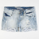 HIPPIE LAUNDRY Crochet Trim Girls Denim Shorts