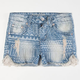 HIPPIE LAUNDRY Tribal Print Girls Denim Shorts