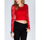 FULL TILT Womens Lace Overlay Crop Top