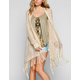 FULL TILT Open Weave Womens Fringe Wrap Sweater