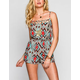 FULL TILT Ethnic Print Womens Lattice Romper