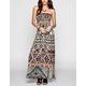 ANGIE Ethnic Print Smocked Maxi Dress