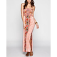 ANGIE Ethnic Print Smocked Maxi Dress
