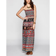 ANGIE Elephant Print Smocked Maxi Dress