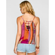 PATRONS OF PEACE Ethnic Print Womens Lattice Back Tank