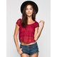 FULL TILT Womens Lace Swing Crop Top