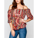 LOTTIE & HOLLY Paisley Print Cold Shoulder Peasant Top