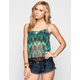 FIRE Ethnic Print Womens Fringe Trim Tank
