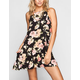 FULL TILT Floral Print High Neck Pocket Dress