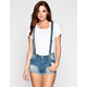 HIPPIE LAUNDRY Womens Suspendered Denim Shorts