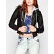 ASHLEY Fleece Hood Womens Faux Leather Jacket
