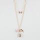 FULL TILT Infinity/Leaf/Rose 2 Row Necklace