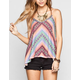FULL TILT Womens Embroidered Trim Sharkbite Tank