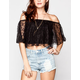 BLU PEPPER Womens Lace Crop Top