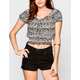 BLU PEPPER Lace Up Womens Crop Top