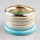 FULL TILT 8 Piece Marble/Etched Bracelets