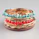 FULL TILT 7 Piece Turquoise/Coral/Wood Bangles