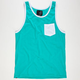 BLUE CROWN Mens Contrast Pocket Tank