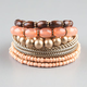 FULL TILT 9 Piece Wood/Gold/Peach/Coral Bracelets
